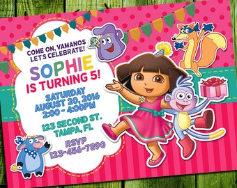Dora the Explorer Invitation, Dora Birthday, Dora Party, Dora and Boots Invitations, Dora and Friends Invite, Dora Printables, Dora Card