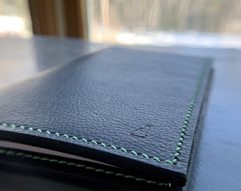 Black Notebook Cover with Mint Thread