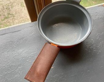 Brown leather potholder