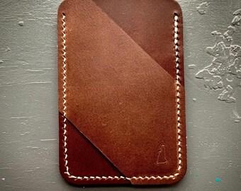 Minimalist three-pocket, two-tone brown wallet