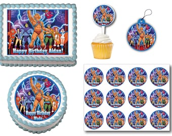 He Man Edible Birthday Cake Topper Plastic Cupcake Picks Stickers Or Gift Tags