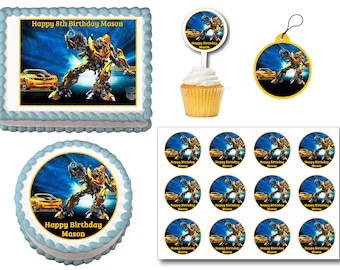 Transformers Edible Birthday Cake Topper Plastic Cupcake Picks Stickers Or Gift Tags