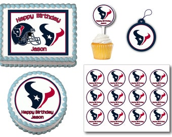 Houston Texans Edible Birthday Cake Topper Plastic Cupcake Picks Stickers Or Gift Tags