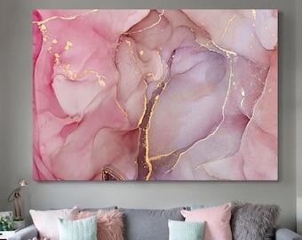 Pink Gold Wall Art Etsy