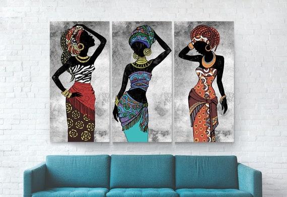 Black Woman Art Set of 3 Prints Printable Wall Art Black Woman Print African Woman Wall Art African Fashion Print Female Print