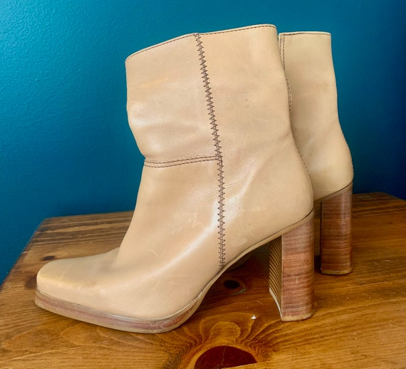 Y2K 90's Tan Leather Stacked Heel Square Toed Boo… - image 1