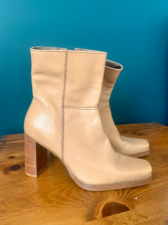 Y2K 90's Tan Leather Stacked Heel Square Toed Boo… - image 3