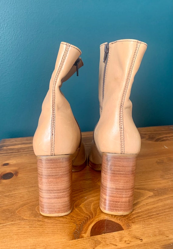 Y2K 90's Tan Leather Stacked Heel Square Toed Boo… - image 5