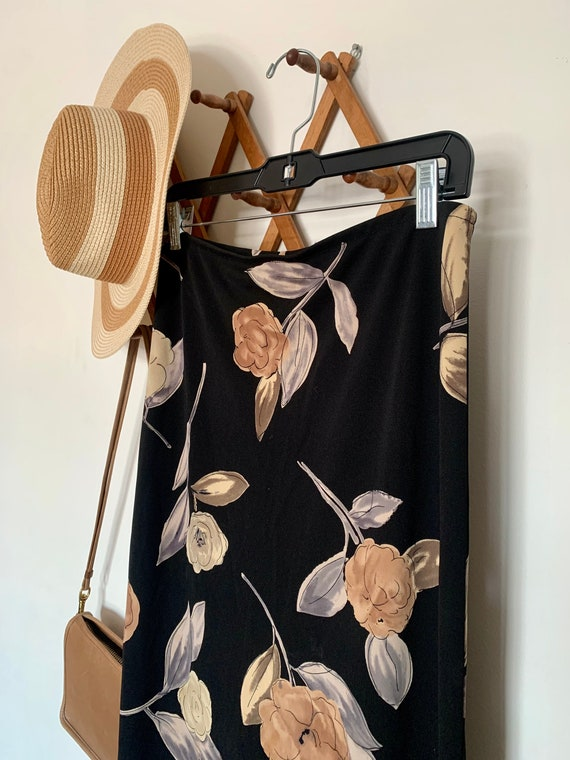 90's Double Split Black Floral Skirt