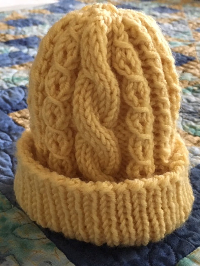 Cable Twist Lace Baby Hat Digital Knitting Pattern  CTLBH image 0