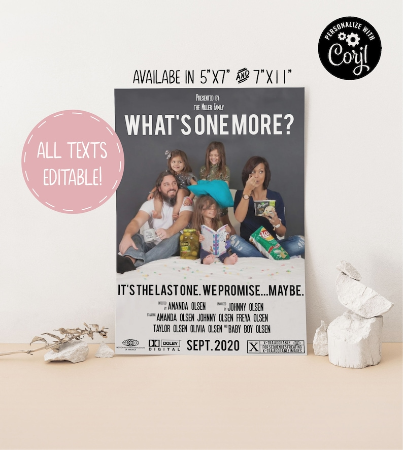 Digital or Printed Template Social Media Announcement Pregnancy Announcement Movie Poster DIGITAL Funny Pregnancy Announcement
