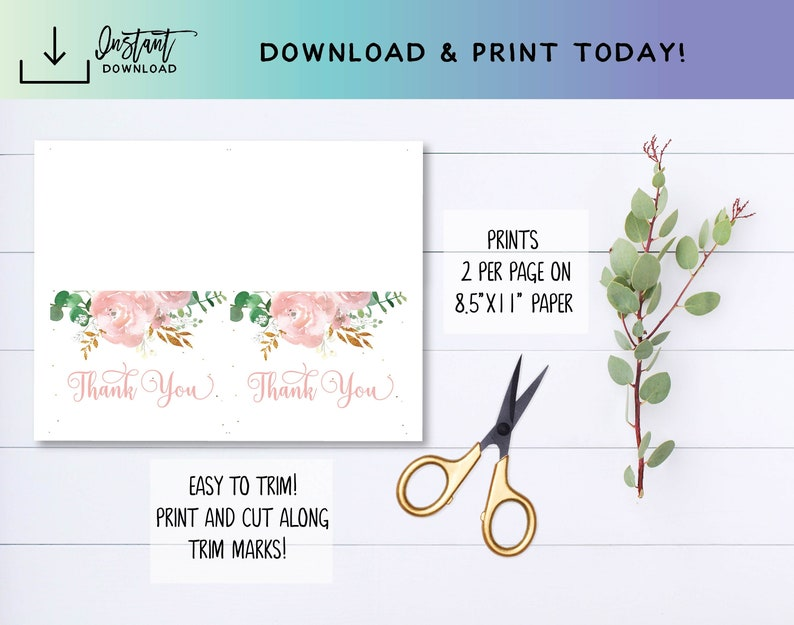 Printable Thank You Floral TYs 001-M Floral Gift List Floral Thank Yous Printable Gift List Shower Gift List Instant Download