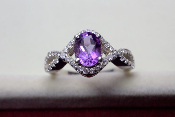925 Sterling Silver Ring Natural Purple Amethyst Ring Amethyst Gemstone American Seller RJ-542 Free Shipping