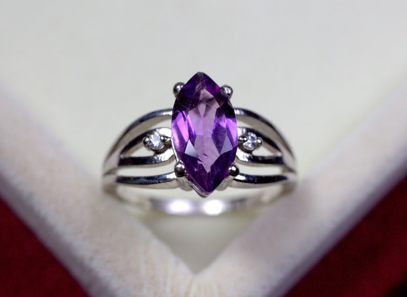 Natural Purple Amethyst Rings Engagement Rings Marquise Cut Rings February Birthstone Sterling Silver Ring Solitaire WeddingEngagement ring