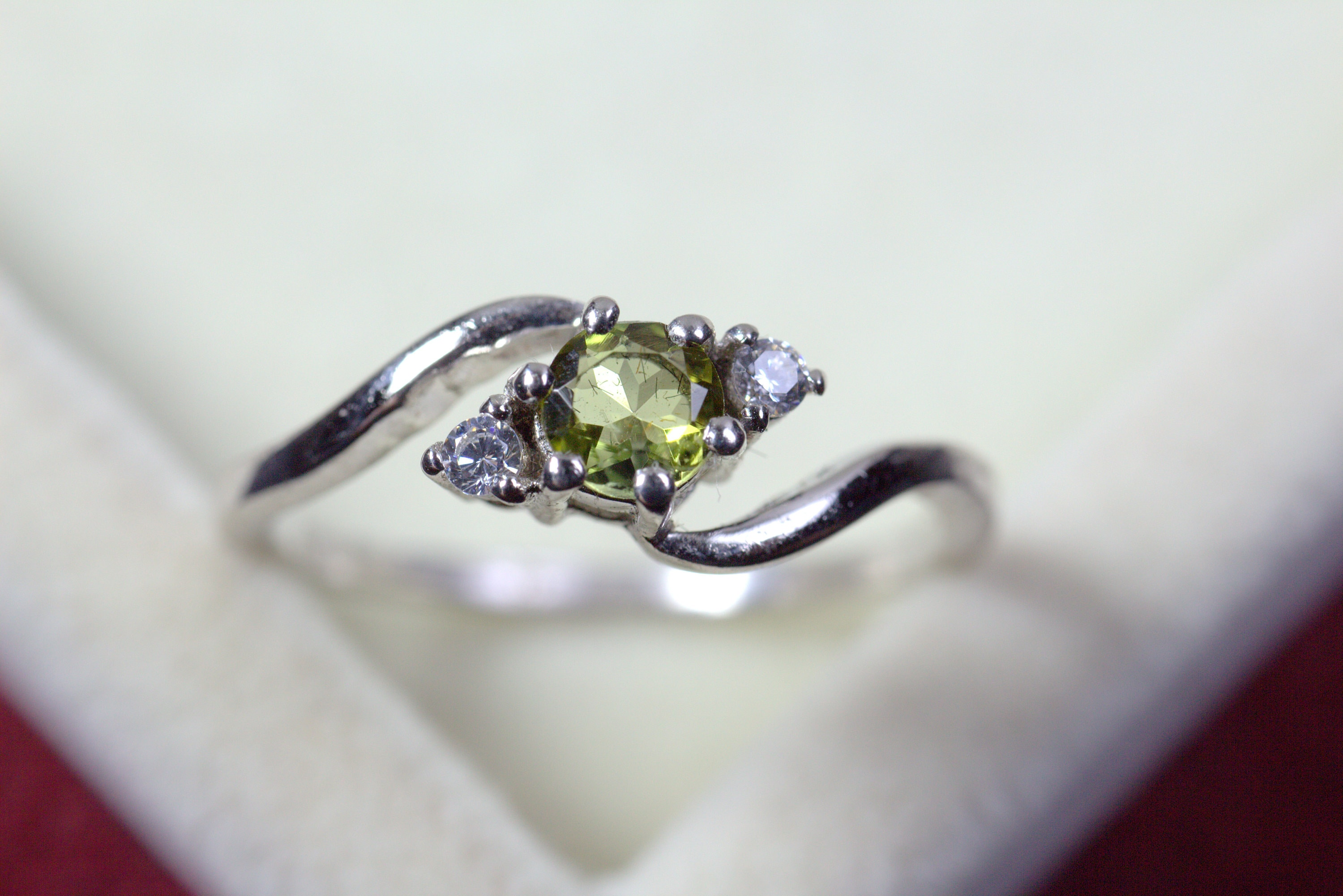 Natural Green Tourmaline Ring Minimalist Ring Sterling Silver Ring Gift for Her Tourmaline Jewellery