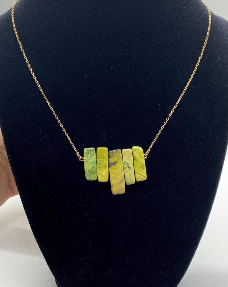 Jasper 18k Gold green and black stone pendant necklace
