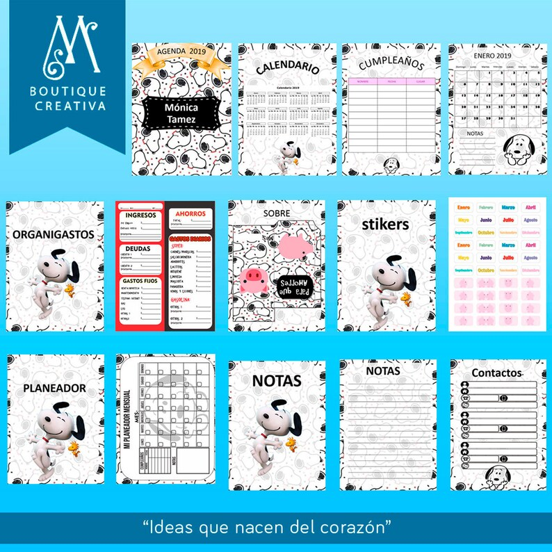 Calendario Snoopy 2020.Snoopy Agenda 2019