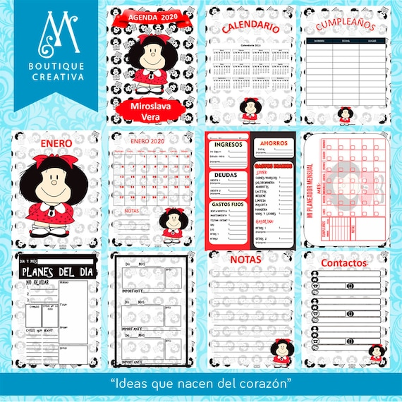 Calendario Snoopy 2020.Agenda Mafalda 2020