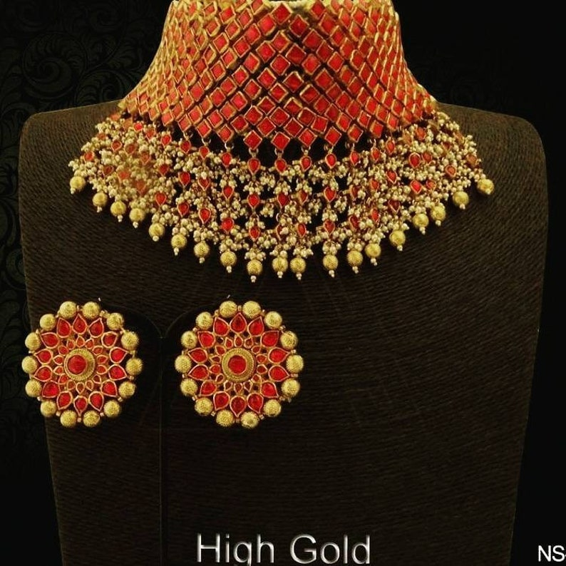 Traditional Bridal Choker Necklace Set Indian Jewelry Indian Etsy