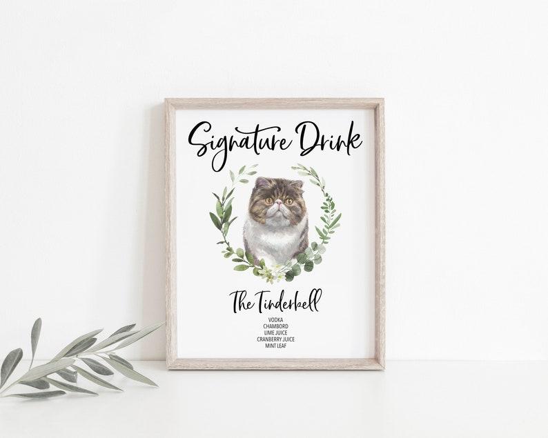 Digital Download PRINTABLE One Cat Signature Drink Wedding And Shower Sign Custom Sign 1 Wedding Decor Signature Drink Sign