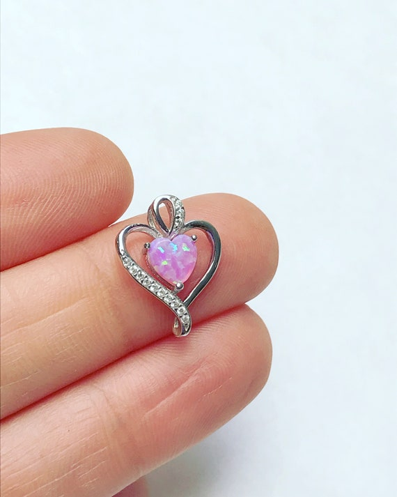 """SOLID 925 Sterling Silver Shiny Puffed Heart Love Charm Pendant 0.71/"""" Valentines"""
