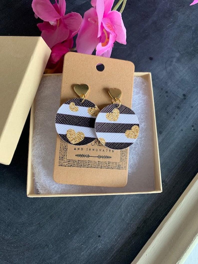 Heart earrings Gold earrings Striped earrings Leather earrings Black and white earrings Valentine/'s Day earrings