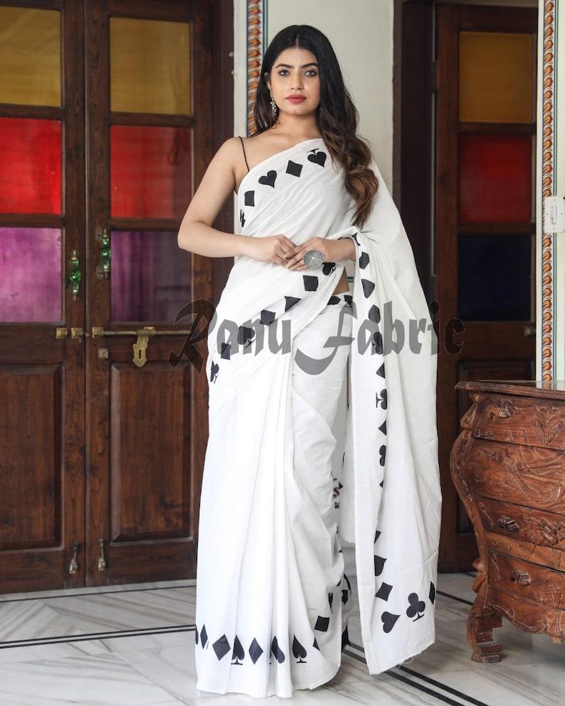Handmade Hand Print Cotton Saree Black and white saree