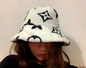 d8f573ad1e7 Designer Inspired Monogram Faux Fur Bucket Hat Logo Print Polyester white  black LV