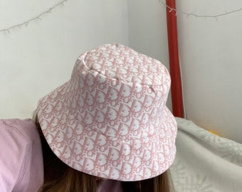 36bf8e63d2ac5 Dior pink monogram bucket hat hand made castom designer inspired Size M 57