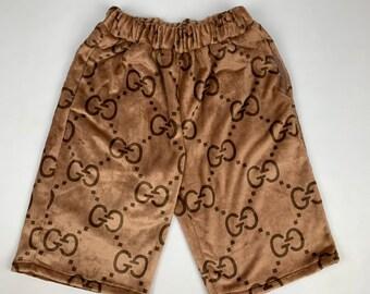 186b5d76f80 Cozy Brown shorts with GG Monogram Print Designer Inspired M L