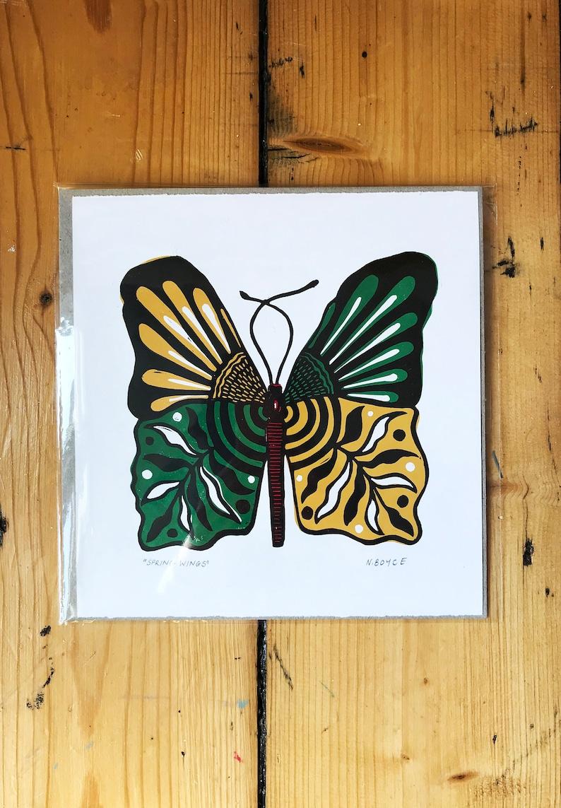 Butterfly Art Print Butterfly Illustration Relief Print Boho Bedroom Decor Wall Art Botanical Linocut