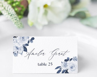 Navy Place Card Template, Printable Wedding Escort Card, Editable Name Card, Navy calligraphic Name Card, Editable Instant Download #EC032 G