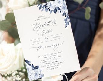 Navy Wedding Program Instant Download, Blue Program Template, Fan Program 5x7 Program, Order of Service, Ceremony, Printable Program #P032 G