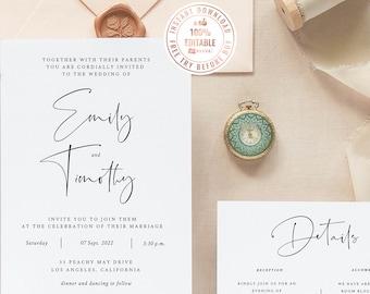 Minimalist Wedding Invitation Template, Instant Download  Template, Stylish Wedding Invitation Calligraphy Wedding Invitation Design #A008 G