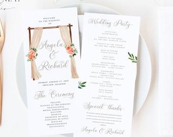 Wedding Program Instant Download, Floral Ceremony Program, Wedding Program Template, Printable Floral Wedding Program Modern wedding #P005 G