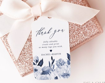Navy Blue Thank You Tag Template,  Thank You Tag, Wedding Welcome Tag, Bridal Shower Favor Greenery Favor, Editable INSTANT DOWNLOAD FT032 G