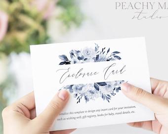Navy Floral Enclosure Card Template, Printable Greenery Insert Details, Book Request, DIY Wedding Insert Editable, Instant Download #EN032 G