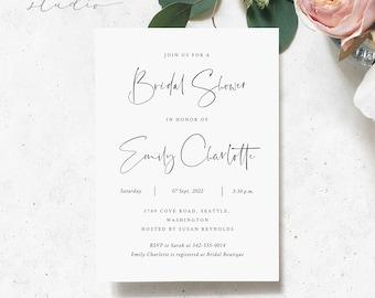 Bridal Shower Invitation Template, Instant Download Floral Template, Minimalist Bridal Shower, Style Modern Bridal Shower Invitation #B008 G