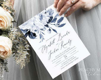 Navy Peony Wedding Invitation Template, Instant Download Floral Template,Printable Invite Details RSVP, Navy Blue Wedding Invitation #A032 G