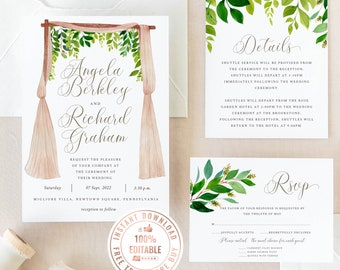 Greenery Boho Wedding Invitation Template, Instant Download Floral Template Printable Wedding Invitation Greenery Wedding Invitation #A005 G