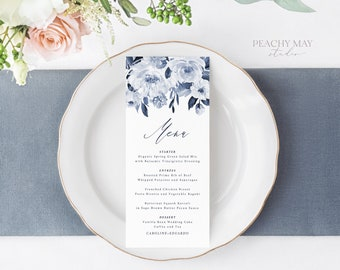 Navy Wedding Menu Template, Greenery Dinner Menu, Fully Editable, Blue Menu Template, Wedding Blush Floral Editable, Instant Download M032 G