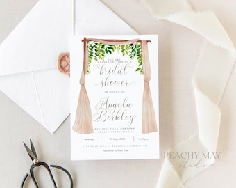 Greenery Bridal Shower Invitation Template, Instant Download Floral Template, Pink Foliage Florals Greenery Bridal Shower Invitation #005B G