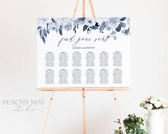 Wedding Seating Chart Template, Seating Arrangement, Instant Download Find Your Seat Poster Watercolor Greenery Seating Chart Design SC032 G