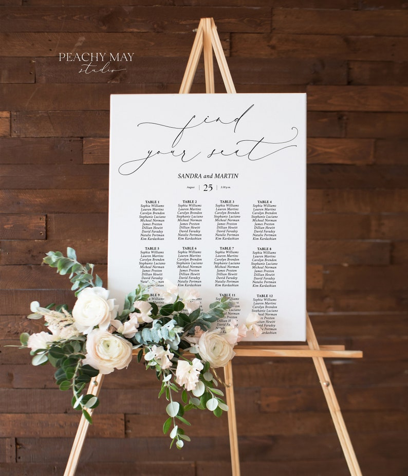 Seating Arrangement Wedding Seating Chart Template Instant Download Find Your Seat Poster Watercolor Greenery Seating Chart Design SC030 G