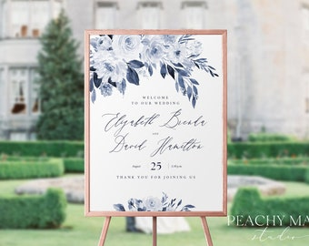Navy Wedding Welcome Sign Template,  Greenery Welcome Sign Template, Bridal Shower, Editable Text, DIY Instant Download, Greenery #WS032 G