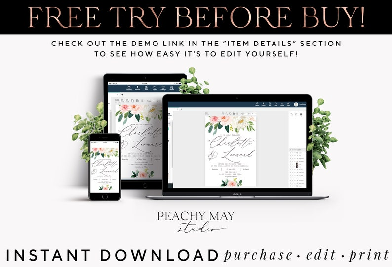 Bridal Shower Blush Navy Welcome Sign Template Greenery #WS012 G Greenery Welcome Sign Template Baby Shower Editable Instant Download