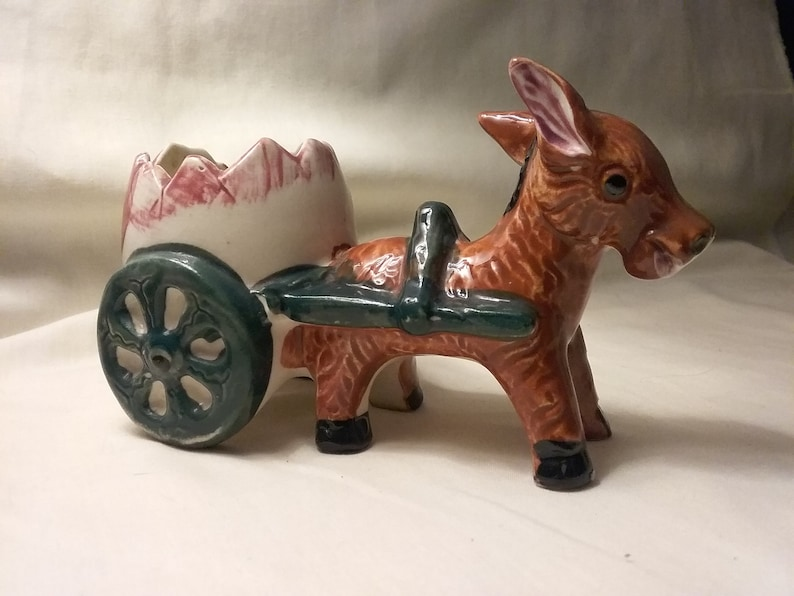 Adorable mid century donkey and cart planter