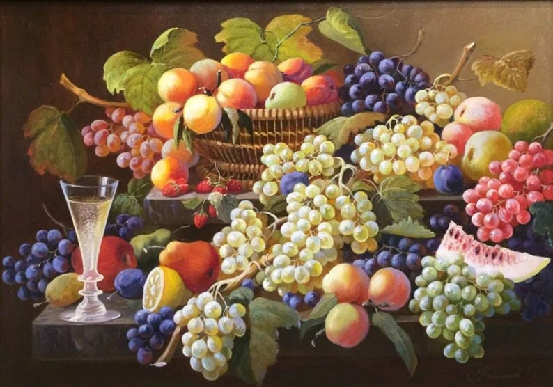 5D Diamond Painting Kit Fruit Grape Cross Stitch Art Painting Rhinestone Embroidery Diy Full Drill Oil Painting Wall Decor Home Living Decor