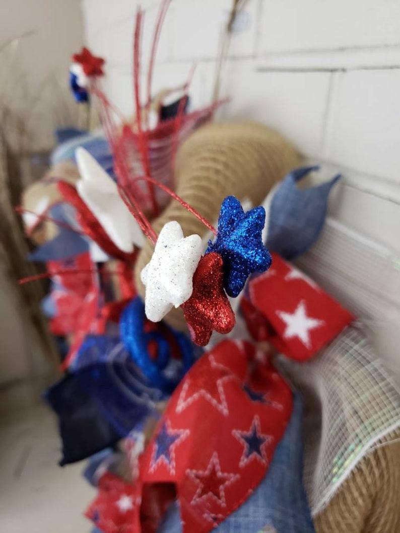 July 4th wreath God Bless American wreath,Patriotic wreath America Flag wreath