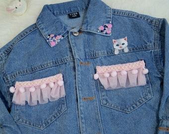 ae1df9655 Girl's Denim Jacket, Personalised Toddler Denim Jacket, Cat Denim Jacket